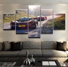 Modular HD Print Artwork Modern Poster Home Decor Wall Art 5 Pieces Pictures Black And McLaren P1 Red Sport Car Canvas Painting