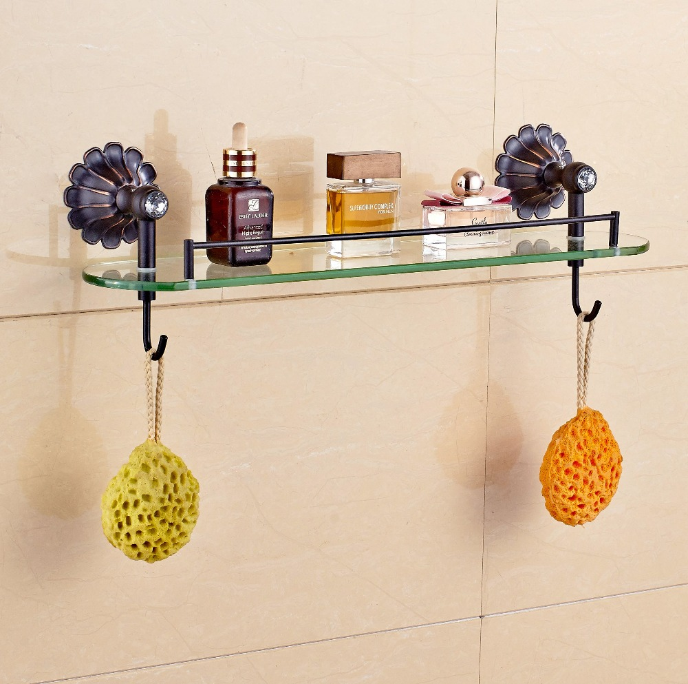 Oil Rubbed Bronze Stirage Shlef Wall Mounted Bath Holder With Hooks