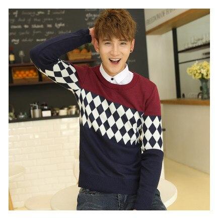 Мужская одежда пуловер с круглым вырезом свитер осень и зима свитер мода плюс бархат утолщение основной мужские пуловеры - Цвет: Красный