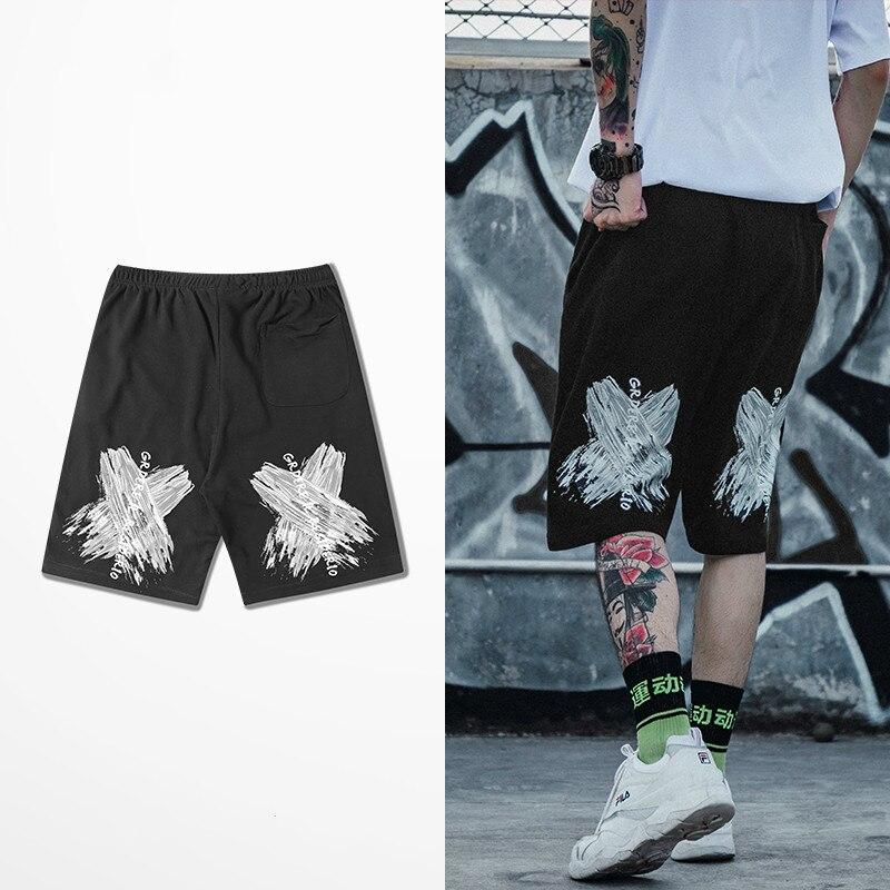 European American Street Graffiti Print Shorts Männer Flut Marke Männer Strand Shorts Skateboard Hip Hop High Street Kurze Hosen Taille Und Sehnen StäRken