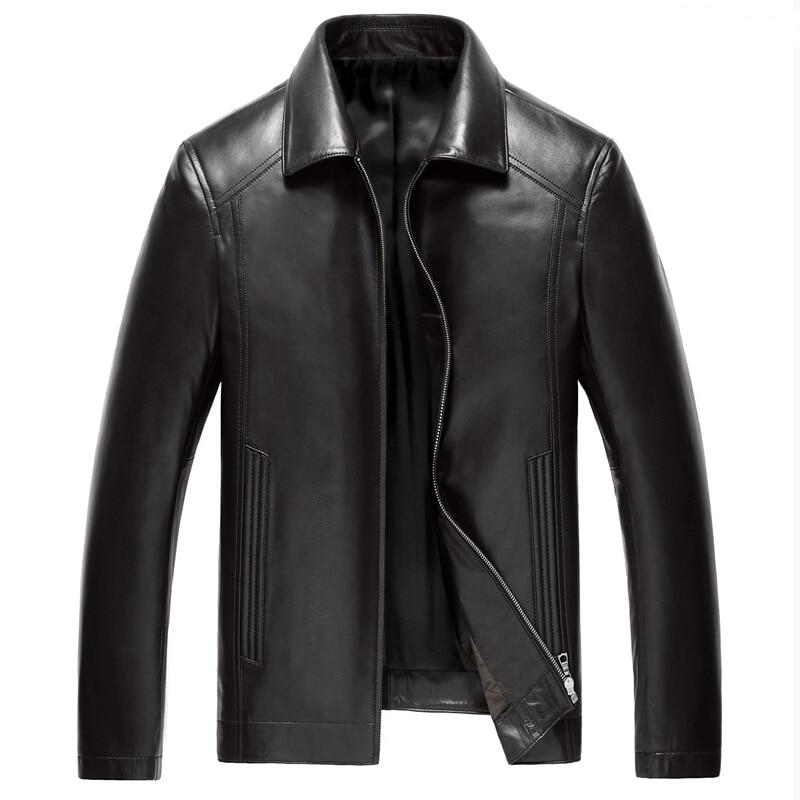 2017 Autumn Genuine Leather Jacket Men 100% Sheepskin Jacket Men Fashion Lapel Brand Spring Jacket jaqueta de couro masculina