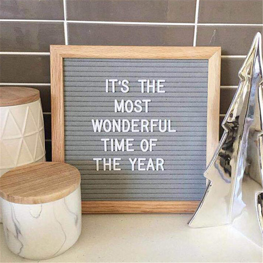 Hot Beautiful Felt Letter Board Wooden Frame Changeable Symbols Numbers Characters Message Boards for Home Office Hogard JY24