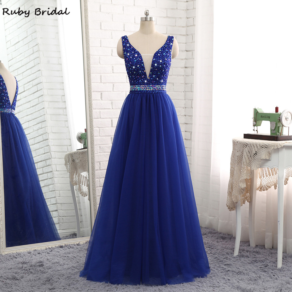 Ruby Bridal 2017 Luxury Long A-line Royal Blue   Evening     Dresses   Chiffon Beaded Vestido De Festa Cheap V-Back Prom Party Gown R317