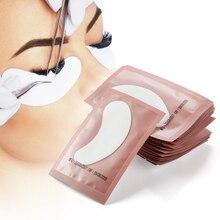 100 pairs Makeup Eyelash Extension Patches Under Eye Pillow Pads Lashes Building Wraps Lint-free Tweezers Helper