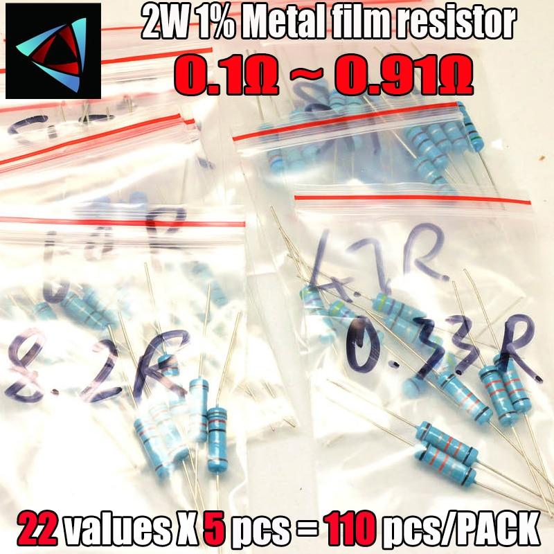 0.1R-0.91R Ohm 2W 1% DIP Metal Film Resistor,22valuesX5pcs=110pcs, RESISTOR Assorted Kit