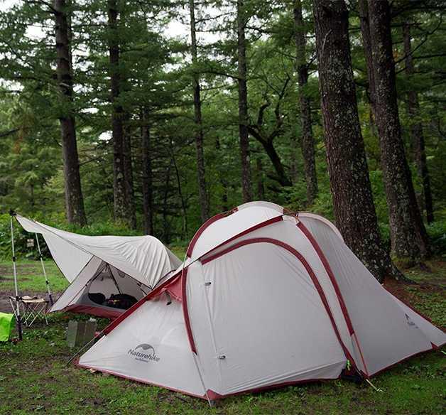 Nature randonnée Camping tente 3 personnes 20D Silicone une chambre un salon Double couches étanche à la pluie NH tente extérieure 4 saisons
