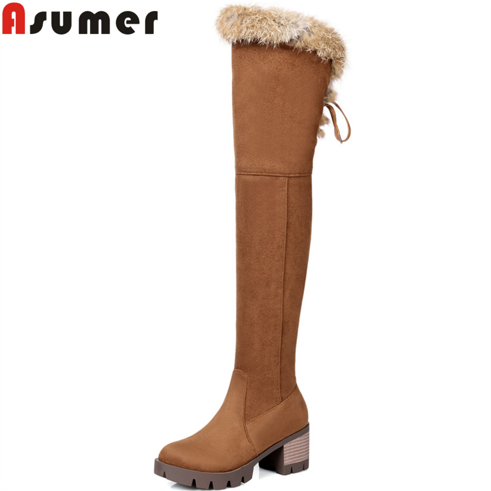 ASUMER fashion new arrive women boots black brown zipper flock ladies boots round toe square heel over the knee boots big size enmayer green vintage knight boots for women new big size round toe flock knee high boots square heel fashion winter motorcycle