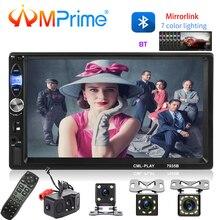 AMPrime 2din универсальный автомобильный Радио 7 «Bluetooth MP5 FM мультимедийный плеер авторадио MirrorLink AUX/USB ленты Регистраторы резервного копирования Камера