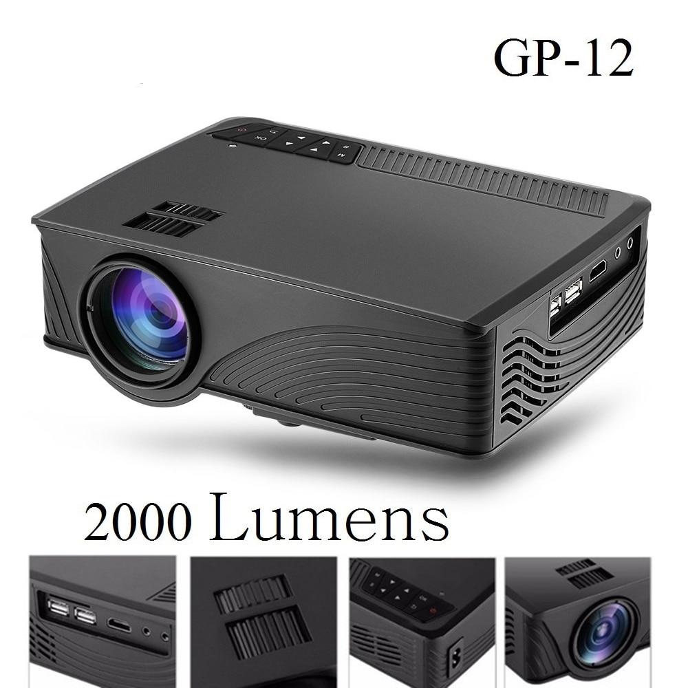 2000 Lumens Full Hd 1080p Led Lcd 3d Vga Hdmi Tv Home: GP 12 GP12 Protable Mini LED Projector 800 X 480 Pixels