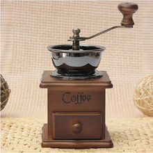 NEW 1PCS Retro design Mini Manual Coffee Mill Wood Stand Bowl Antique Hand Coffee Bean Grind As a Gift