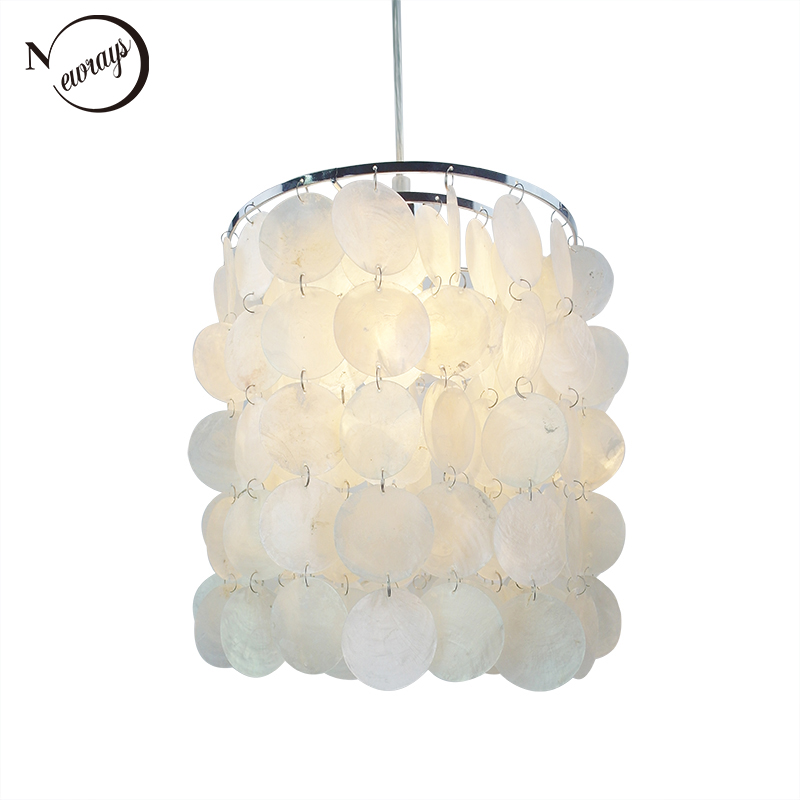 Loft Modern White Natural Seashell Chandelier Ceiling E14 LED Shell Lighting For Dining Room Living Room