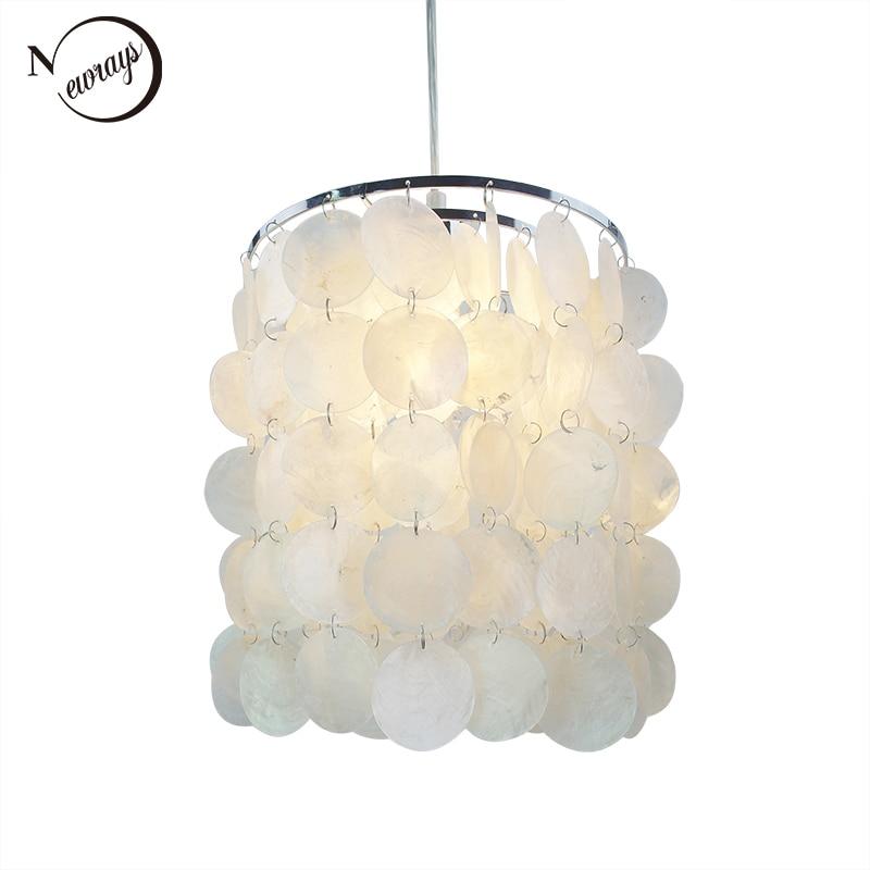 Loft Modern White Natural Seashell Chandelier Ceiling E14 LED Shell Lighting For Dining Room Living Room