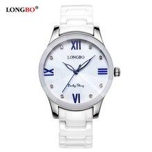 LONGBO Women Watch Luxury Brand Fashion Quartz Ceramic White Gold Strap Women Wrist Watch Hot Sale Hodinky Clock Reloj Mujer недорого