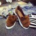 Comercio al por mayor de las mujeres zapatos de Los Planos de la Plataforma de Las Mujeres talón Plano Zapatos Perezosos Zapatos de cuero Suave de piel de dibujos animados orejas de conejo zapatos planos elásticas