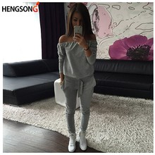 HENGSONG Fitness Workout Clothing Women's Gym Sports Running Girls Slim Leggings+Tops Women Sports Sets Sport Suit For Female(China)