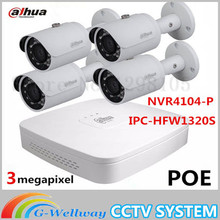Free shipping IPC-HFW1320S 3MP IP Bullet Network Camera 4 Channel 4POE NVR NVR4104-P Full Set Security Surveillance System