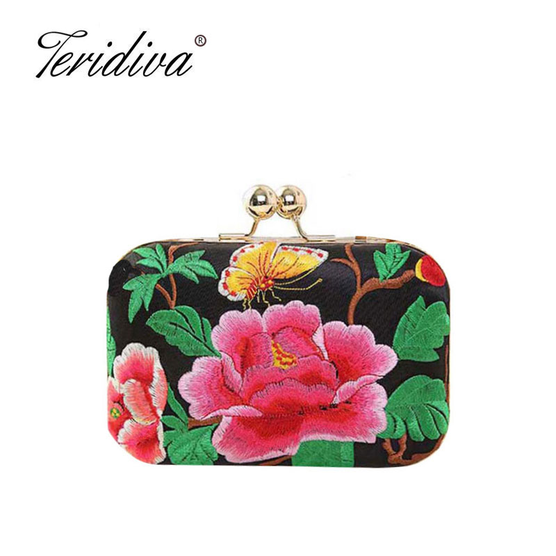 Teridiva European and American Style Floral Handbag Chain Shoulder Bag Embroidery Ethnic Bags Spain Style Evening Clutch Bags