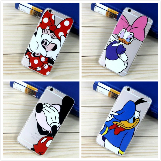 100pcs lot DHL Mickey Minnie Mouse Daisy Donald Duck Mobile Phone Cases For Apple iPhone 7 7plus 6 6s plus 6plus TPU Case Cover