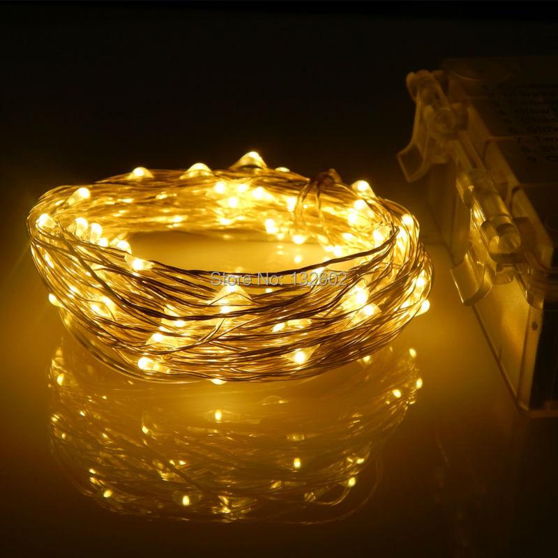 10 mt 100 Leds Wasserdichte Led Batterie schnur lichter Silber Draht ...