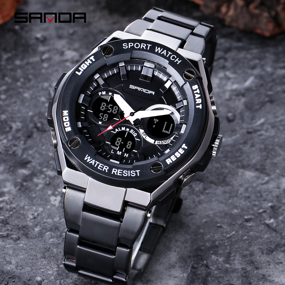 SANDA Digital Watch Clock Quartz Stainless-Steel Men's Relogio Masculino LED Sport Dual-Display