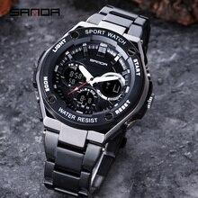 SANDA, nuevos relojes deportivos para hombre, reloj Digital de cuarzo LED de doble pantalla, reloj de pulsera de acero inoxidable para hombre, reloj Masculino