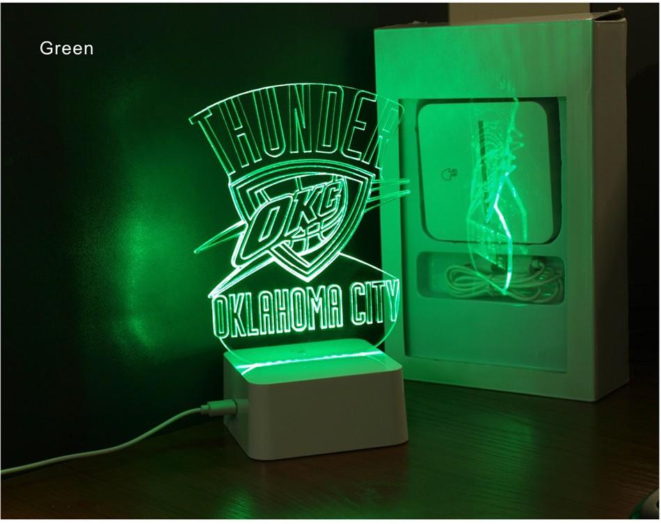 Creative Holiday Gifts for Thunder NBA Desk light Oklahoma City 3D Night Light as Bedroom Lampara (6)