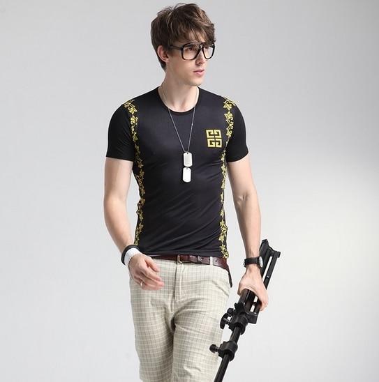 Новые Мужские Футболки 2016 Luxury Brand Design Plus Размер Versae Ice Шелковый Футболка Homme Мужская Мода Brand Clothing Camisa Masculina