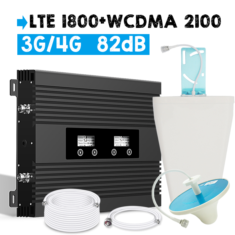 Walokcon 82dB High Gain Signal Amplifier 4G LTE 1800 3G WCDMA 2100 Booster Dual Band Cellphone Signal Repeater Two LCD Display