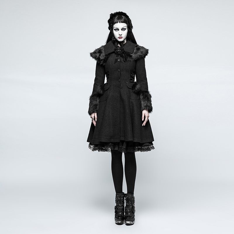 2018 Fashion College Preppy Style Gothic Winter Wool Fabric Coat Large Cuffs Worsted Jacket Rabbit Fur Lolita Blends Outerwear
