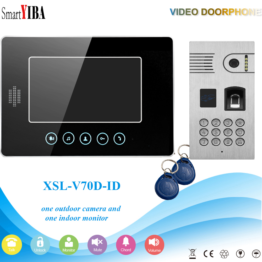 SmartYIBA Fingerprint/Password Code Unlock Door Camera Video Door Phone Video Doorbell RFID Control Apartment Intercom System for 2 apartment video intercom fingerprint recognition password 700tvl sony camera unlock intercom video phone ip65 waterproof
