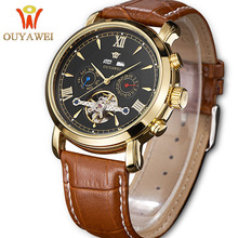 OUYAWEI Business Mens Tourbillon Watches Mechanical Calendar Flywheel Dial Skeleton Automatic Self-wind Dropshipping