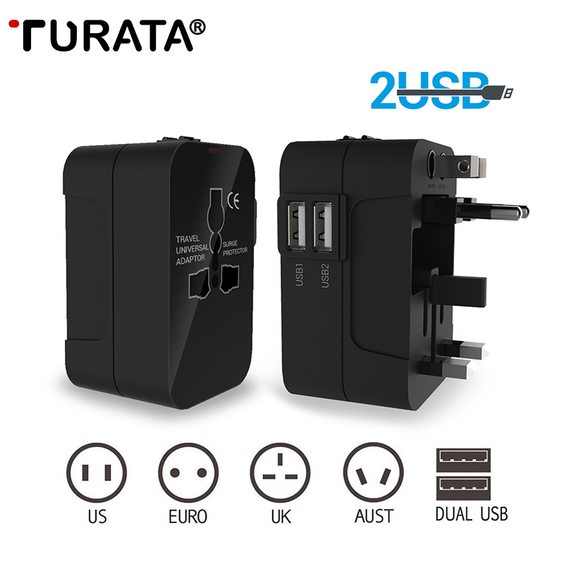 TURATA US EU UK AU Universal USB Charger Travel Wall Charger Adapter Smart Phone Charger for iPhone Samsung Xiaomi iPad Tablets