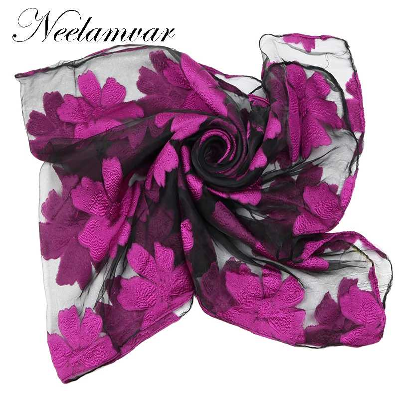 Neelamvar 2019 бренд шелковистой роскошный женский шарф хиджаб Вышивка Длинные черные кружева пряжи хиджаб модные шали шарфы