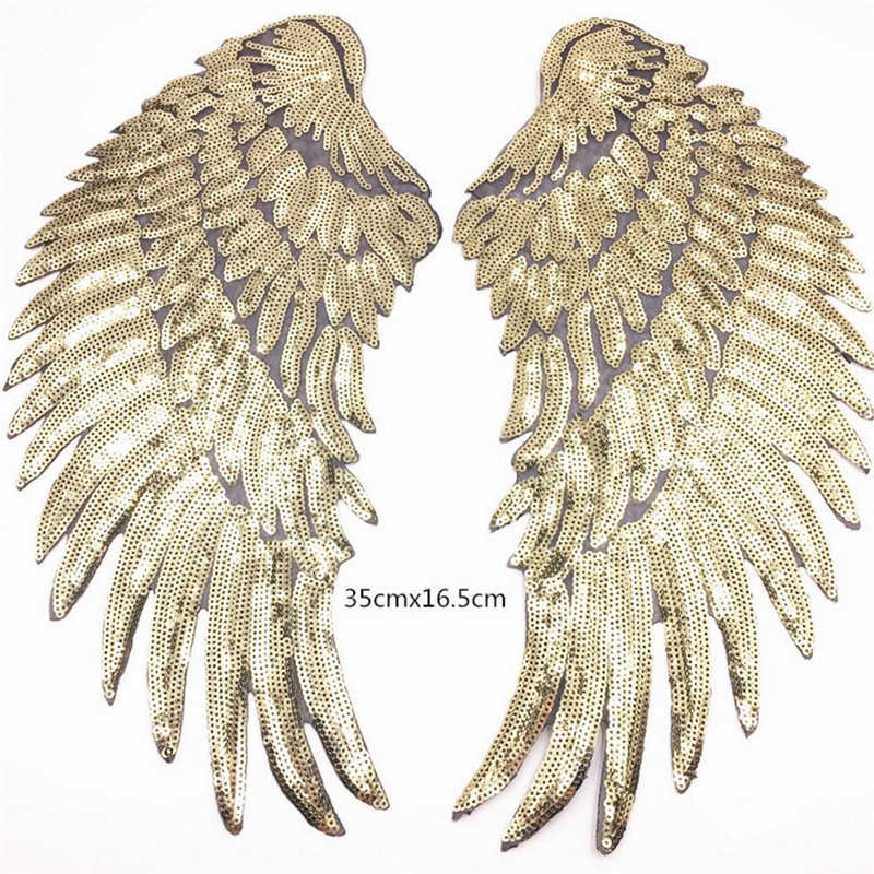 1 Pair Fashion Large Sequins Wing Patch for Clothing Applique for Jeans DIY Accessories Cute Sew on Patches 35cm x 16.5cm