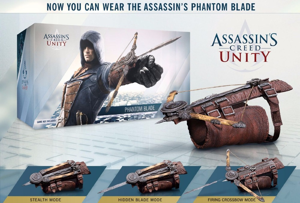 Free Shipping Assassins Assassin's Creed Unity Arno's Phantom Hidden Blade Cosplay Weapon Action Figure Toy 1 1 neca assassins creed 5th hidden blade brotherhood edward kenway costume cosplay toy kids brinquedos action figure mode