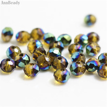 AnnBeady Yellow New Green Color 4x6mm 50pcs Rondelle Austria faceted Crystal Glass Beads Loose Spacer Beads For Jewelry Making(China)