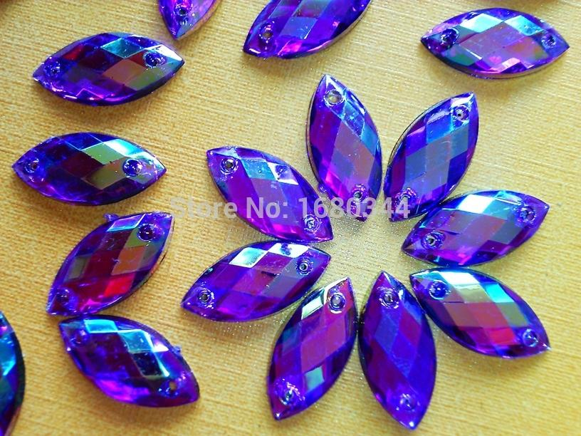 Purple AB colour Sew on crystal 7*15mm Navette shape flatback rhinestones gemstones Acryl hand sewing strass 200pcs/lot