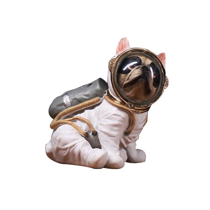 Astronaut Dog Statue Figurine Animals Spaceman Bulldog Art Sculpture Resin Art&Craft Home Decoration Accessories R736