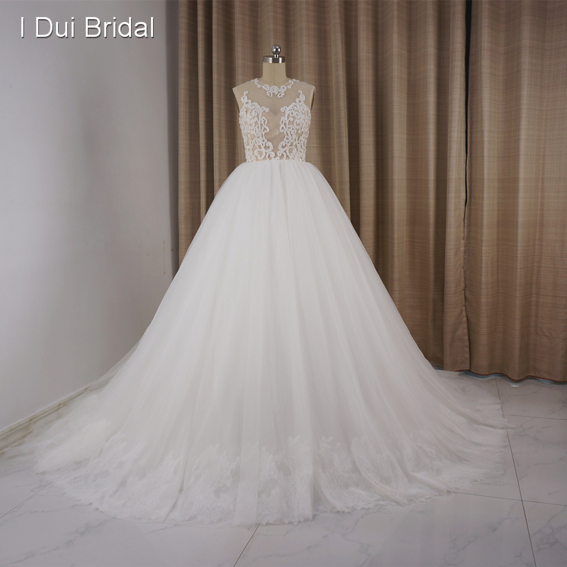 Illusion Corset Lace Wedding Dresses Ball Gown Real Photo Romantic Bridal Gown Custom Made ELS 027