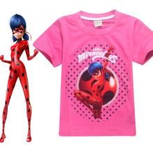 2018 kids Ladybug Girl Miraculous Cartoon T-shirt For Girls moana Tees  Summer Short Sleeves Boys Tops Teen Clothes Kids Shirts 8fb3204d078a