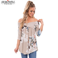 SEBOWEL Autumn 2017 Blouse Women Long Sleeve Vintage Floral Print Off Shoulder Crisscross Loose Tops Blusas
