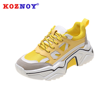 Koznoy Sneakers Women Spring Thick Bottom Dropshipping Fashion Breathable Muffin Mixed Colors Leisure Shoes