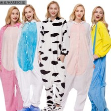 Купить с кэшбэком Cartoon animal conjoined pajamas female thickening coral flannel tianma rainbow star qiu dong pajamas for women  pyjamas women
