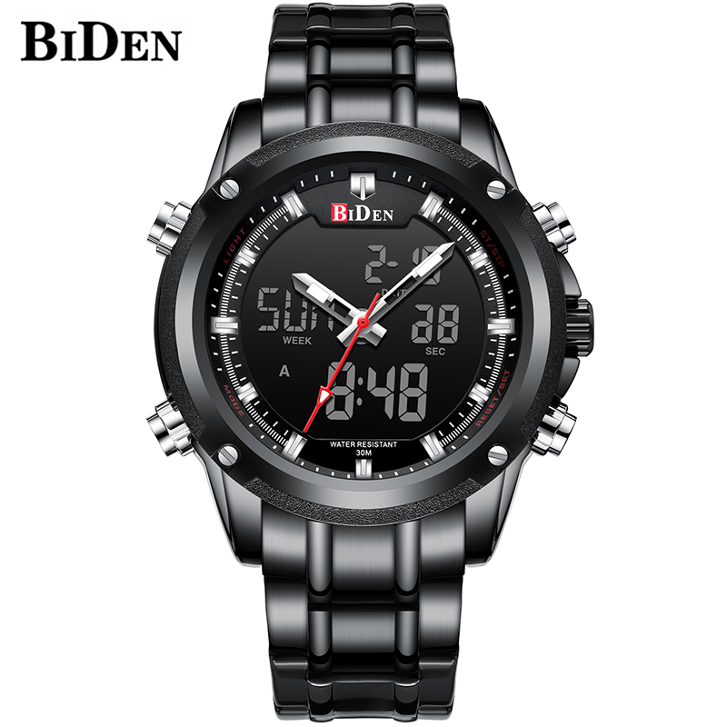Male Army Stainless Quartz Clock Relogio Masculino BIDEN Top Brand Men Military Sport Watches Mens LED Analog Digital Watch