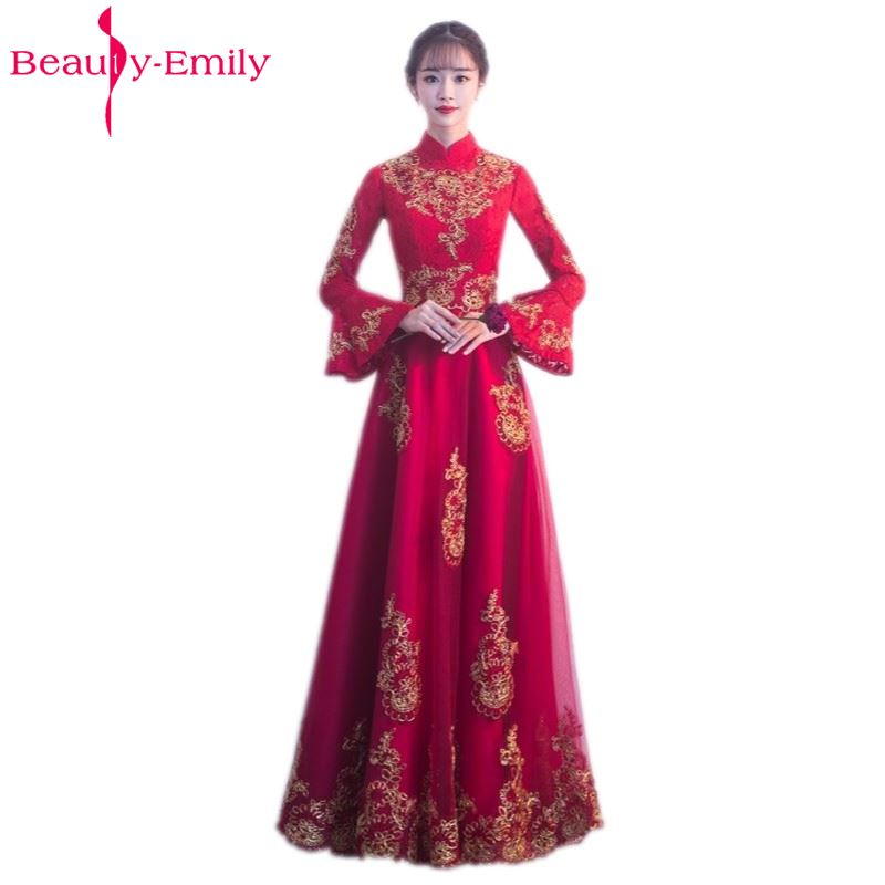 Beauty Emily Lace Long   Bridesmaid     Dresses   2019 Female A-line Party Prom   Dresses   Off the Shoulder Long Full Sleeve High Neck