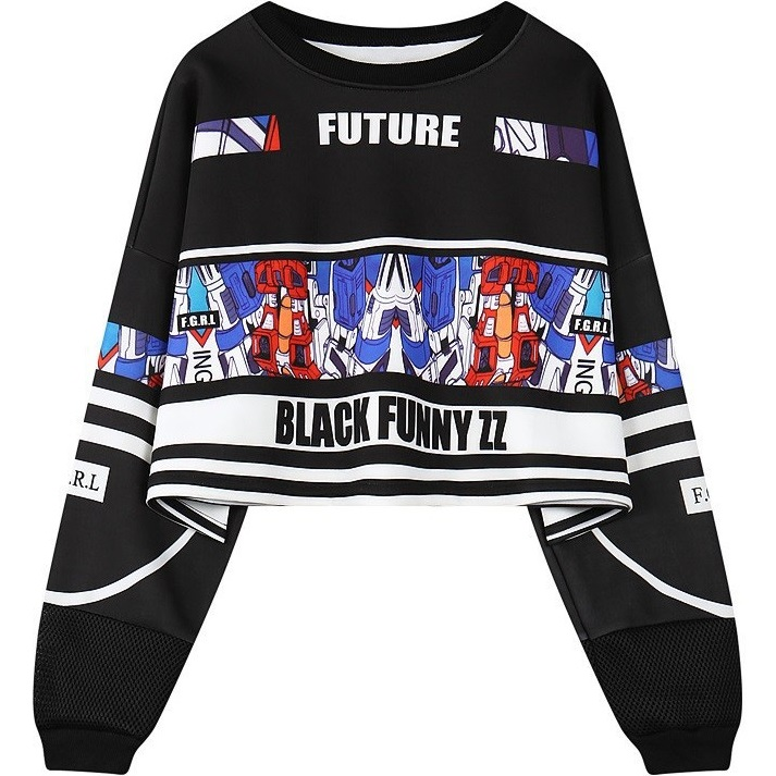 Women Crop Top 2018 Winter HARAJUKU Street Robot Print Loose Sweatshirt Short Design Oversized Pullover Plus Size Hip-Hop Hoodie
