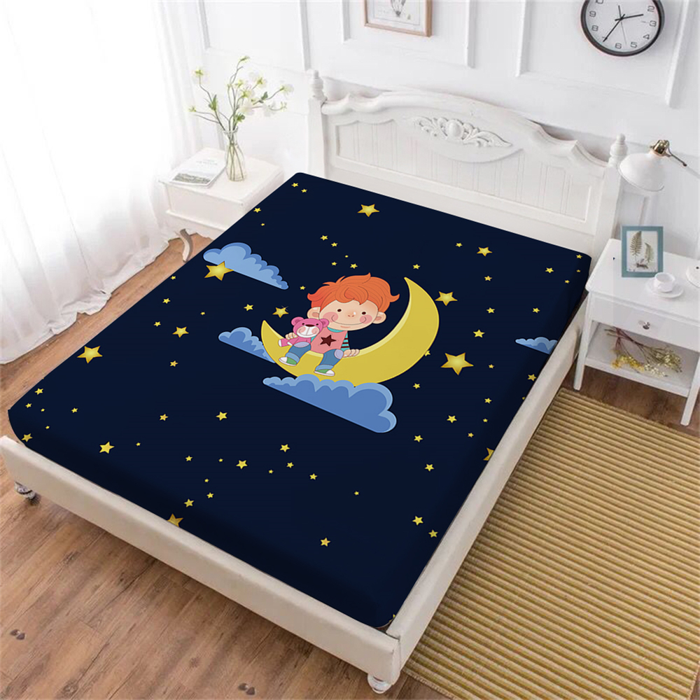 Cartoon Little Prince Bed Sheet Moon Star Print Fitted Sheet Dark Blue Night Sheets Kids Baby Mattress Cover Elastic Band D35