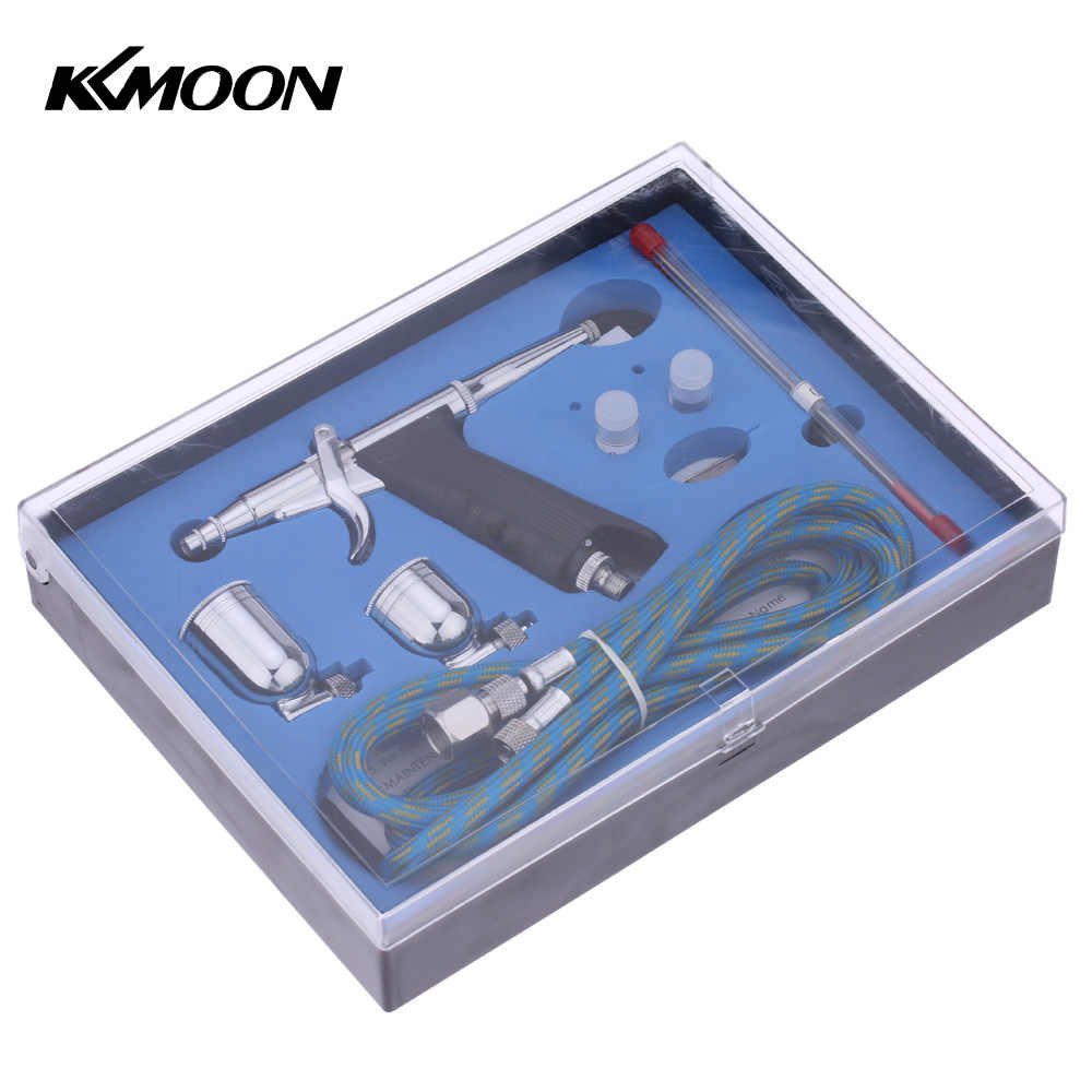 Kkmoon airbrush paint sprayer Double Action spray gun with Hose 3 Tips 2 Cups for Art Painting Tattoo Manicure Spray Model Nail