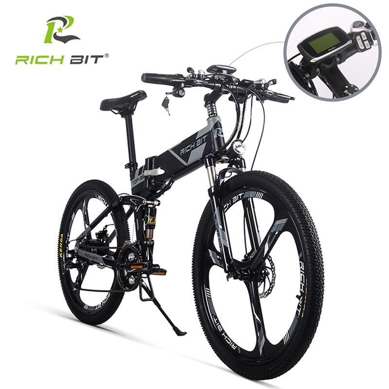 RichBit RT-860 36 V * 250 W 12.8Ah Montanha Híbrido Bicicleta Elétrica Quadro de Bicicleta À Prova D' Água No Interior com Bateria Li- ebike dobrar