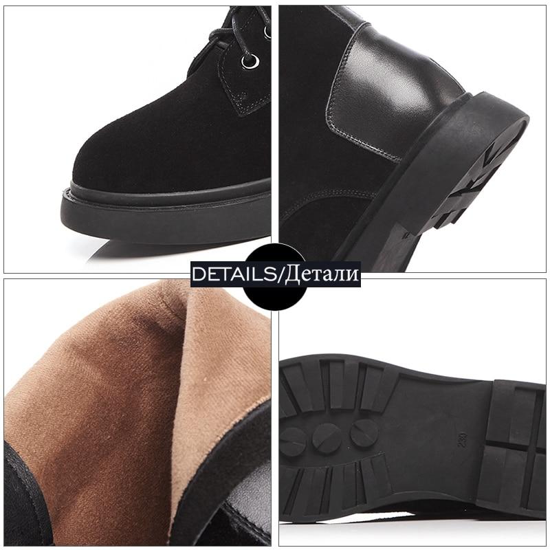 black Mujeres Negro Plataforma Redonda Ejército Tobillo Cuadrados De Botas Ascensor Calzado Vaca Suede Boot Tacones Otoño Zapatos Punta 2018 Wetkiss Invierno IxCwRH